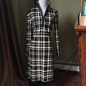 NEW Jude Connally Anna Zip Dress IVORY Black PLAID